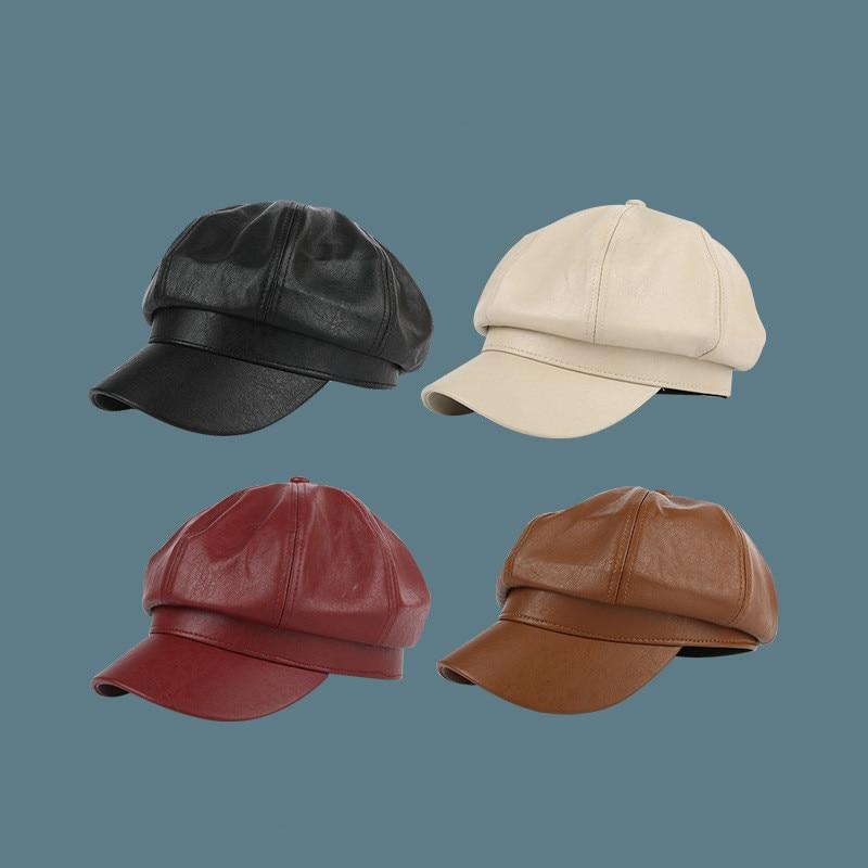 British leather octagonal hat winter fashion gothic style pumpkin painter hat men women outdoor street shooting sun hat