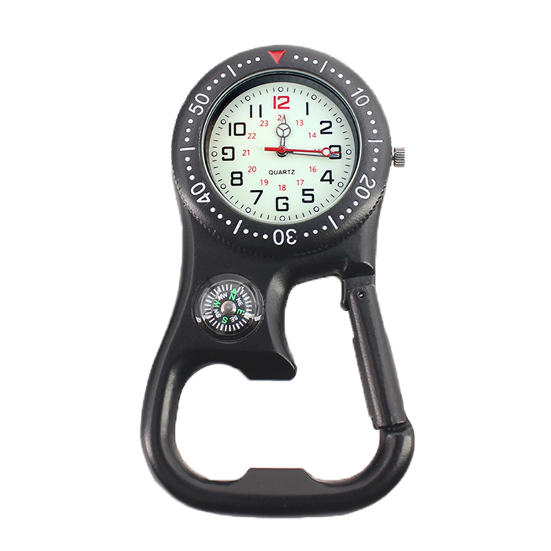 Outdoor Mini Round Dial Arabic Numbers Quartz Analog Clip Carabiner Hook Compass Watch Pocket Watch Strong Luminous