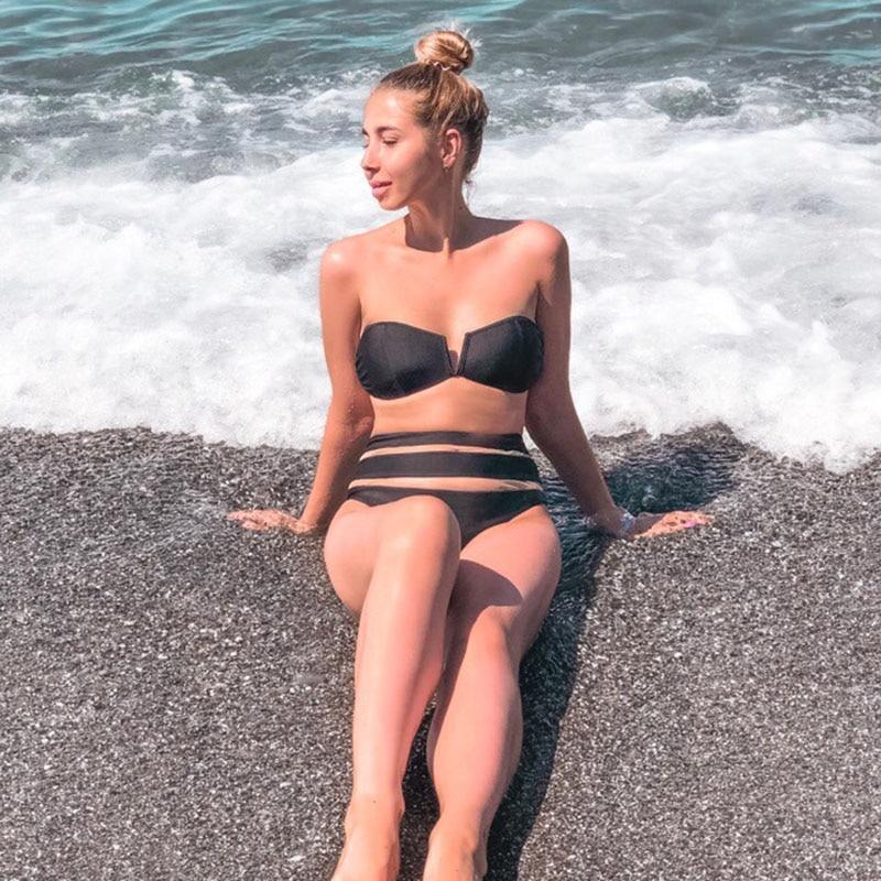 INGAGA New Solid Bikini 2019 biquini Bandeau Swimwear Women Sexy Mesh Swimsuit Push Up Beachwear High Waist Bathing Suit in Bikinis Set from Sports Entertainment