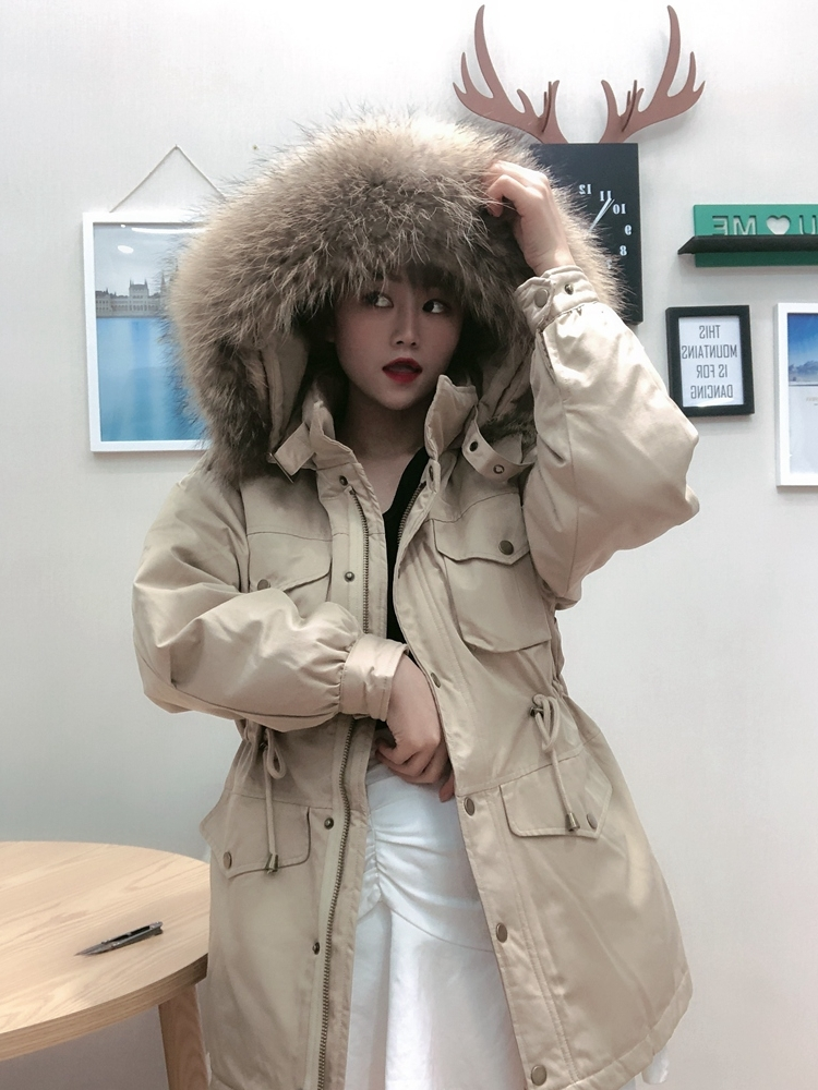 Winter Women's Down Jacket Hooded White Duck Down Coat Female Jacket Fashion Big Fur Collar Chaquetas De Mujer KJ2820