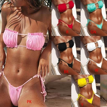2021 NEW Women Sexy 2pcs Bikini Set Ruched Strapless Hollow Out Bandeau Swimsuit Side Tie Low Waist Solid Color Bathing Suit 2