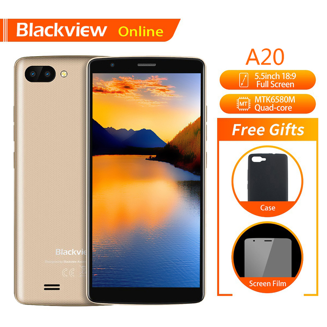 "Blackview Original A20 Smartphone 5.5 ""1 GB + 8GB MTK6580M Quad Core Android GAAN 18:9 Screen 3G Dual SIM Mode Slanke Mobiele Telefoon"