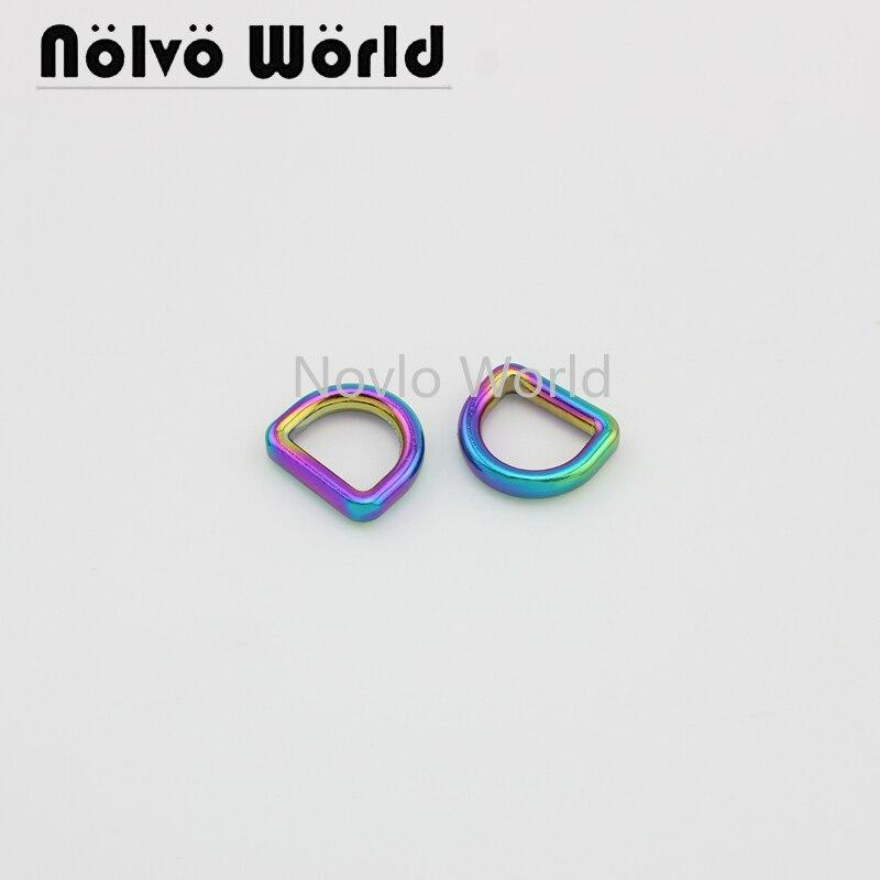 "10 pieces test, inner width 10*8mm 3/8"", rainbow metal D ring bag handle buckles handbag decorative buckles hardware accessories"