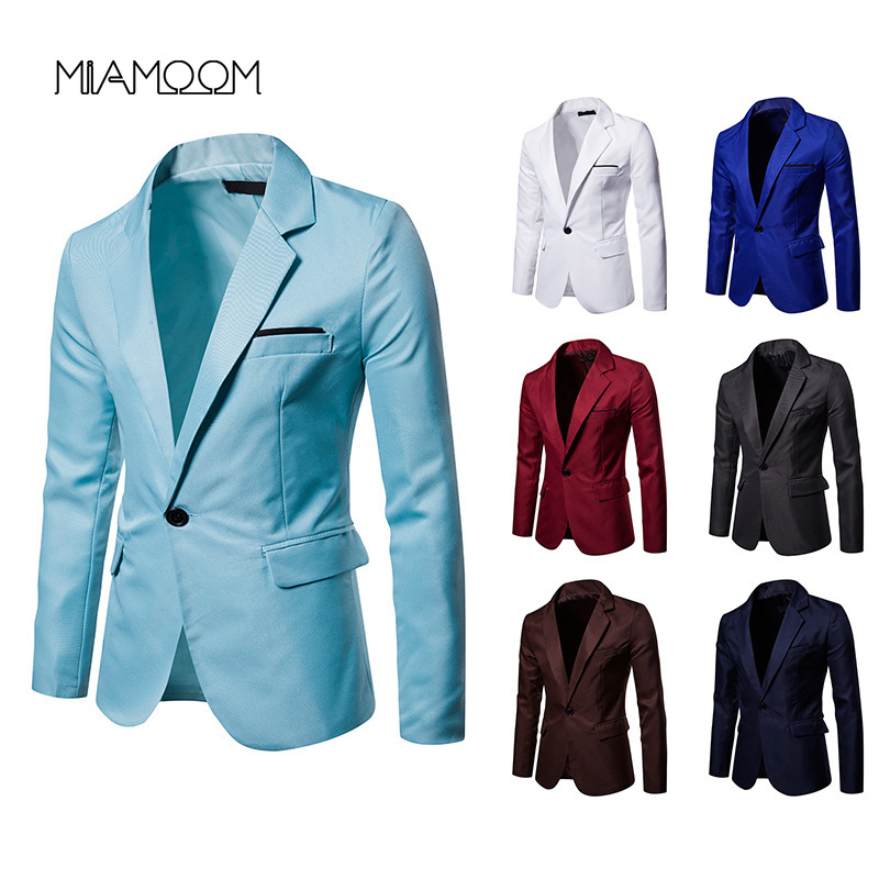 MIAMOOM Men Suit Jacket Solid Color Single Button Business Casual Blazer Men