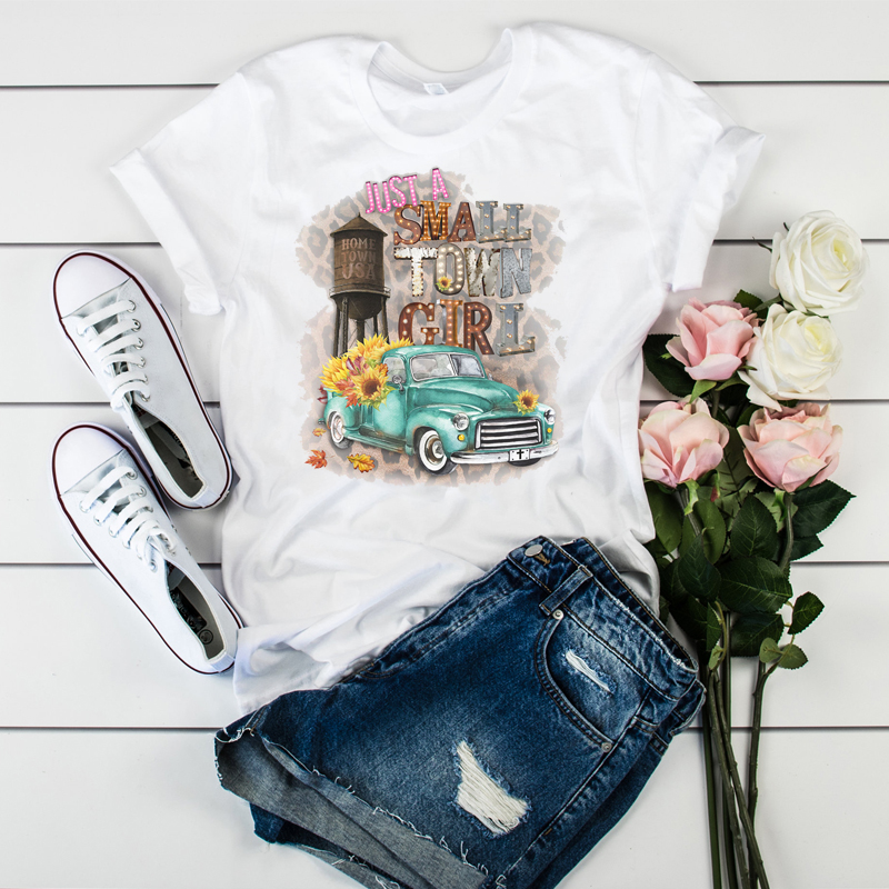 Watercolor Female Printed  Vintage Wold Compass Camera Flower Ladies Camisas Mujer Womens T-shirt Women Graphic T-shirt