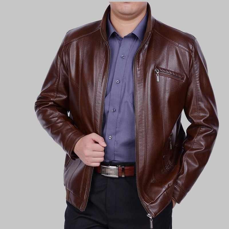 O envio gratuito de 2020 homens marca grossa do falso couro jaquetas motocicleta plutônio jaqueta de couro casual moda lã quente casacos 4xl