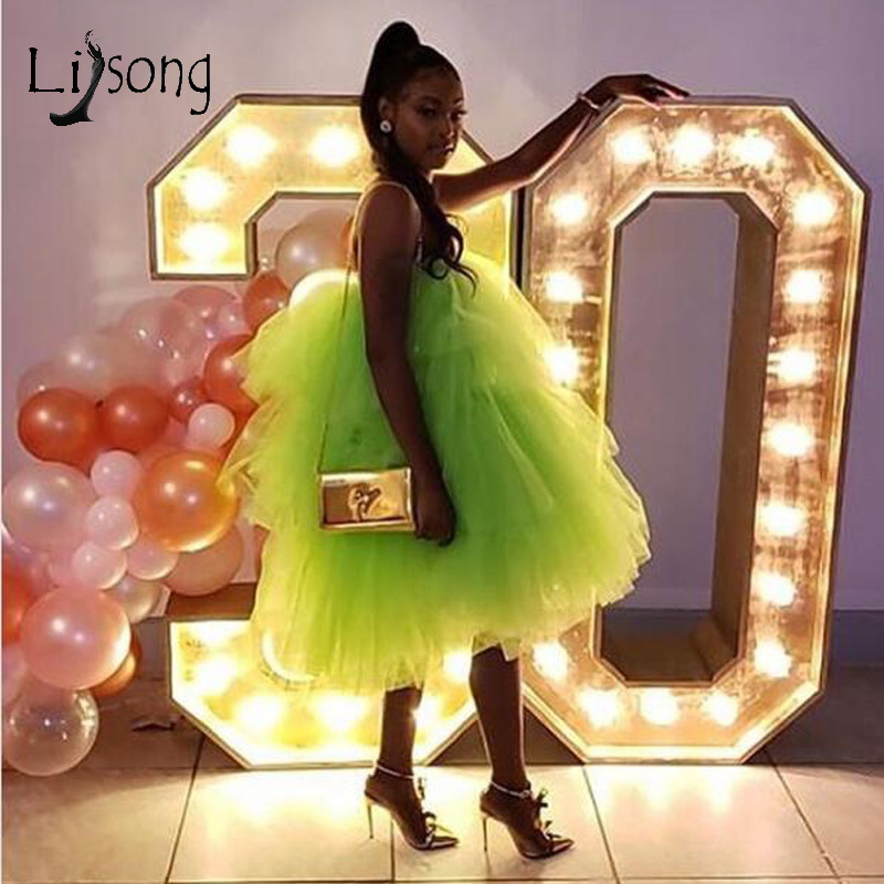 2019 Chic Neon Green Ruffles Tea Length Cocktail Dresses Puffy Tutu Fashion Homecoming Dress Party Prom Gowns Custom Made