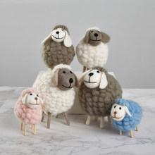 filled sheep small ornaments creative ins bedroom desktop home furnishings statue miniature crafts Holiday gifts easter Figurine