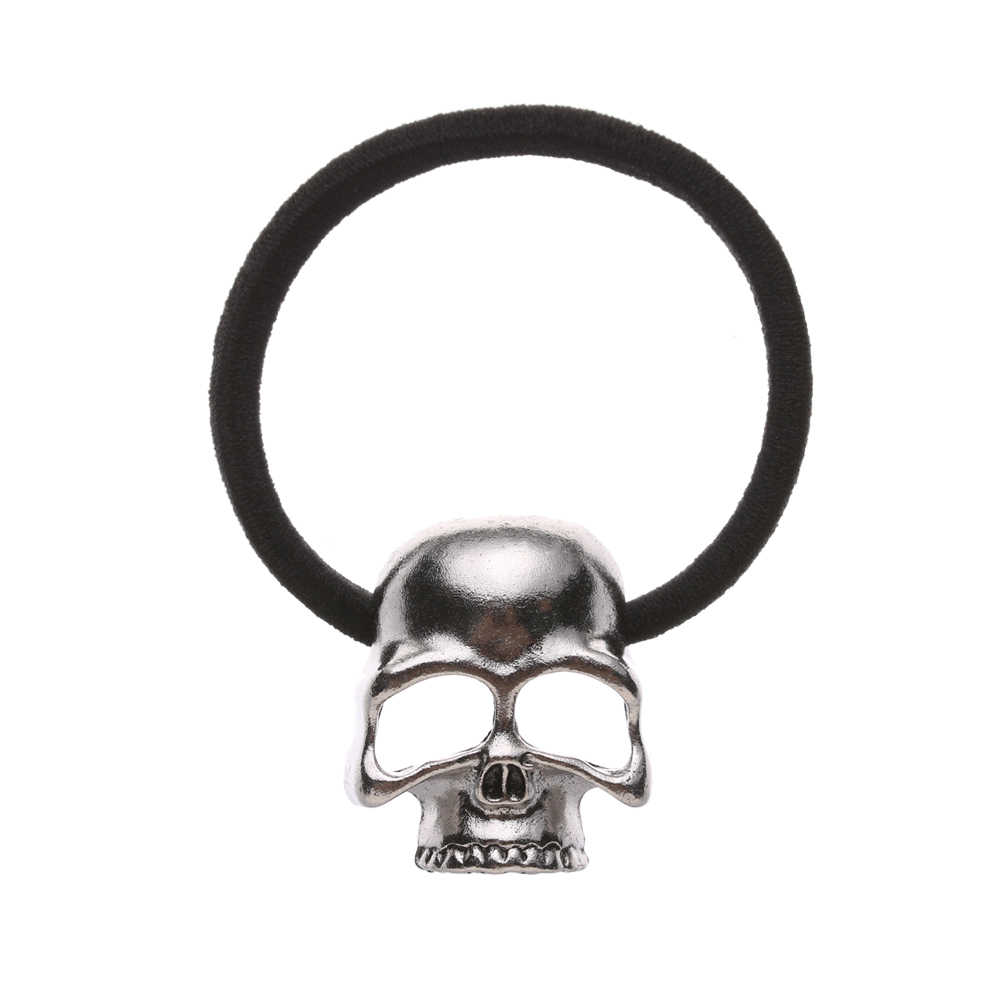 1Pcs Fashion Punk Raven Skull Scrunchie Elastic Hair Bands Women Girls Hair Rope Ring Headwear Ponytail Holder Hair Accessories