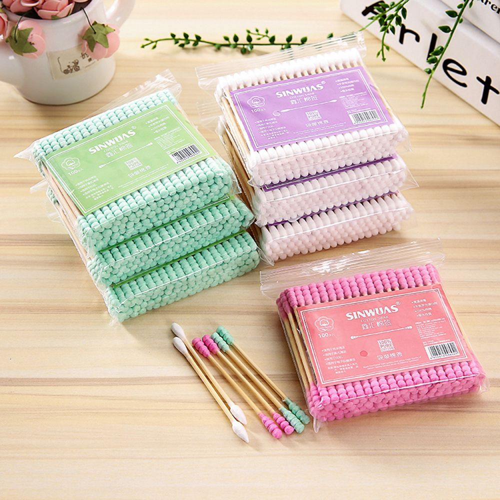 100pcs/ Pack Double Head Cotton Swab Women Makeup Cotton Buds Tip For Medical Daily Use Nose Ears Cleaning Health Care Tools