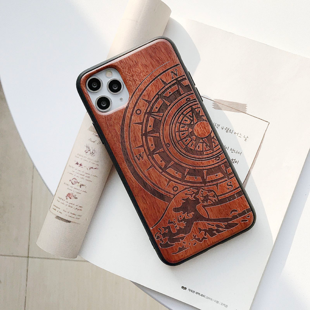 Natural Laser Carving Wooden Phone Case For iPhone 12 Pro Max 1