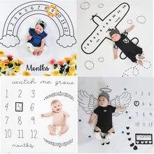 Bebê infantil crescimento mensal marco cobertor fotografia adereços pano de fundo recém-nascido menino menina foto comemorar tapete