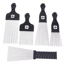 Preto punho afro metal pente cabelo africano pik pente escova salão de cabeleireiro penteado ferramenta de estilo acessórios para o cabelo