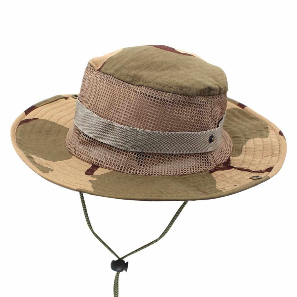 Unisex Men Camouflage Bucket Fisher Sun Hat Summer Holiday Sun Shading Bush Cap