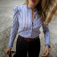 купить Blue Striped Puffed Sleeve Frill Hem Casual Blouse Shirt Blusas Mujer De Moda Streetwear Spring Fall Casual Loose Shirt Tops онлайн