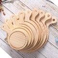 Прямая продажа  Классический круглый поднос для пиццы  для ресторанов  кафе  кухонная утварь из твердой древесины  деревянный поднос для сте...