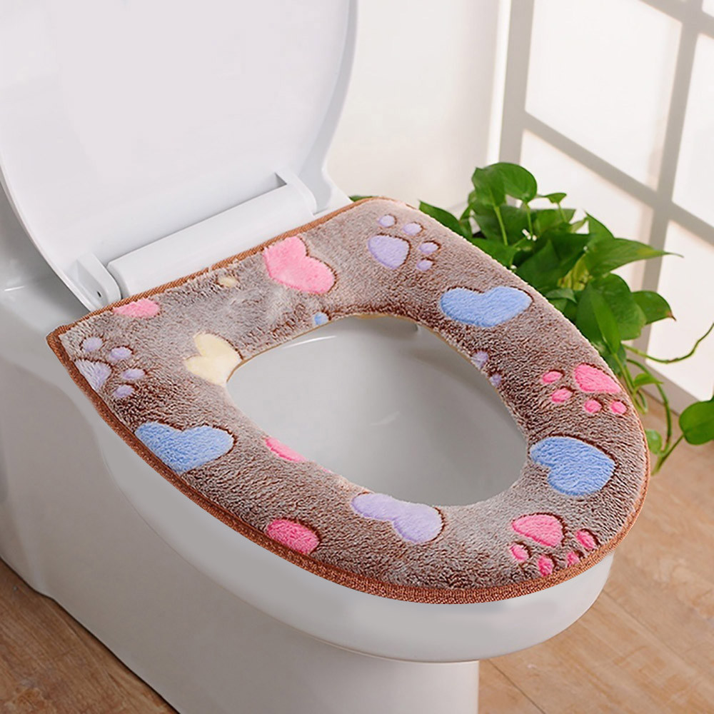 Soft Closestool Washable Lid Top Cover Bathroom Warmer Toilet Seat Cloth STO