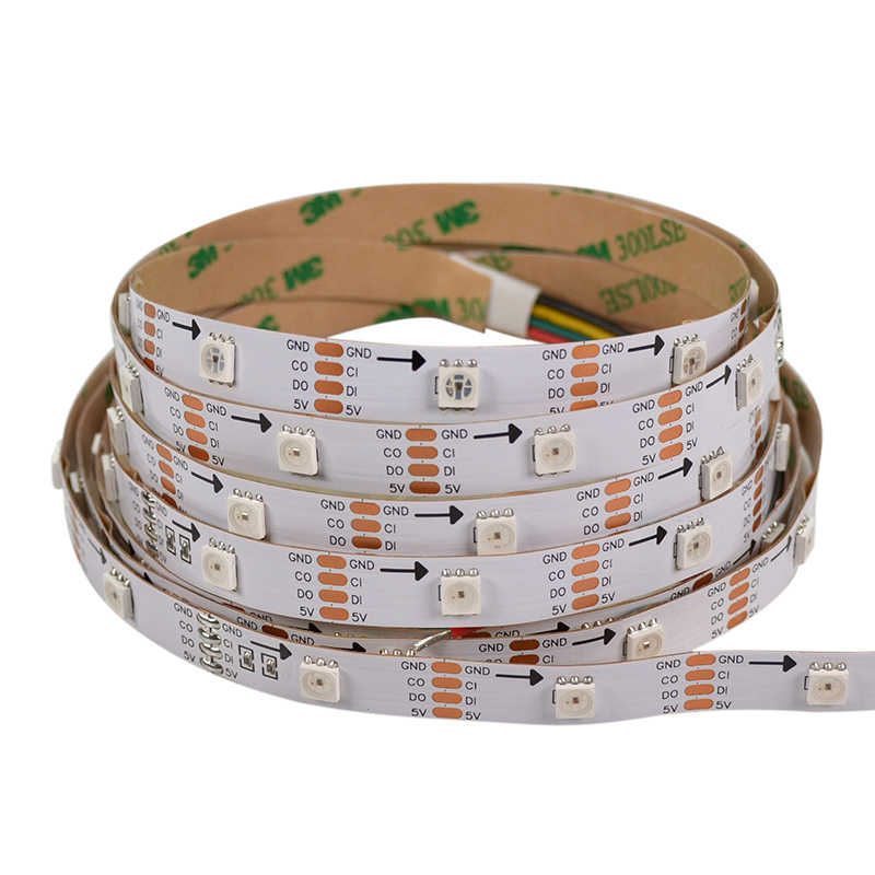 1M DC5V 30 LED/M 30 Piksel HD107S RGB LED Strip APA102 Digital 5050 SMD Flexible Tape Ambilight cahaya tidak Tahan Air IP20