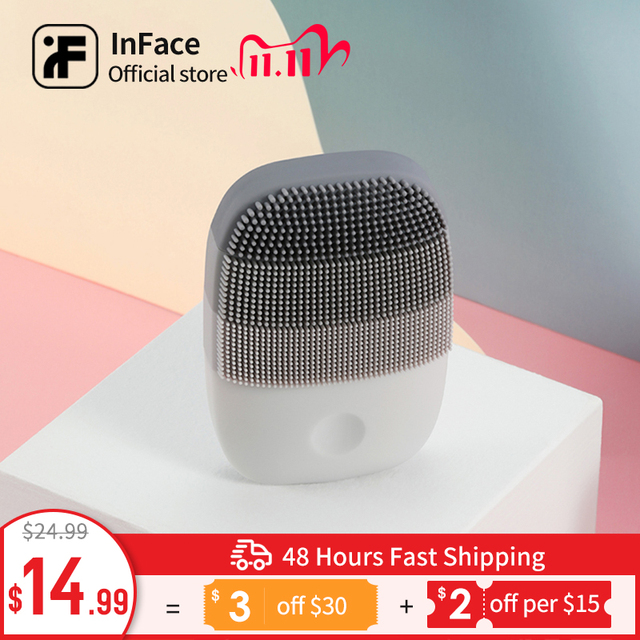 Inface Electric Sonic Facial Cleansing Brush Vibration Face Cleaner IPX7 Waterproof Rechargeable Massage Facial Brush