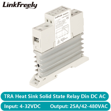 TRA48D25L 25A Photoresistor Heat Sink SSR Solid State Relay Din Rail  DC AC 5V 12V 24V 32VDC Input 42 480VAC Output Power Relay