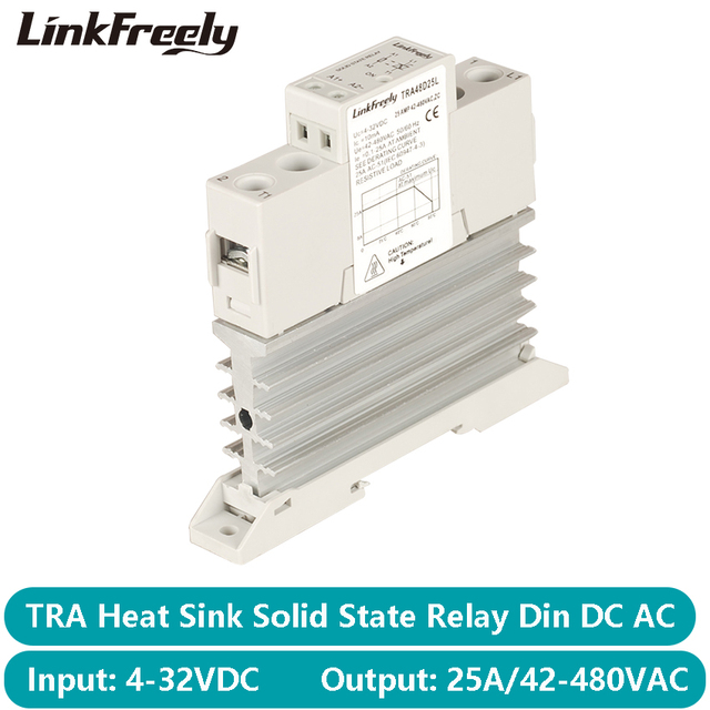 TRA48D25L 25A Photoresistor isı emici SSR katı hal röle Din ray DC AC 5V 12V 24V 32VDC giriş 42 480VAC çıkış güç rölesi