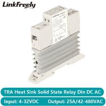 TRA48D25L 25A photorésistance dissipateur de chaleur SSR relais à semi conducteurs Din Rail cc AC 5V 12V 24V 32VDC entrée 42 480VAC sortie relais de puissance
