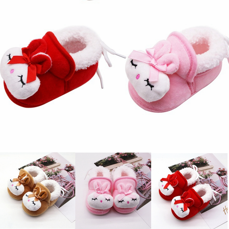Sweet Soft Soled First Walkers Rabbit Newborn Baby Girls Princess Winter Boots Infant Toddler Kids Girl Footwear Shoes