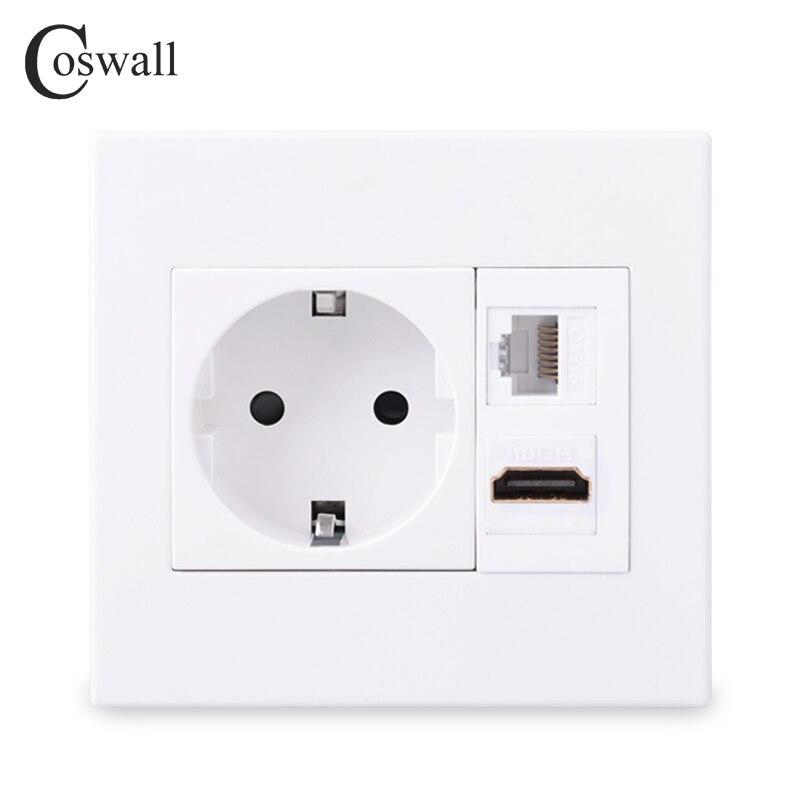 Панель Coswall для ПК, настенная розетка европейского стандарта + разъем «гнездо-гнездо» HDMI-совместимая с портом 2,0/USB 3,0 + Сетевая розетка RJ45 для ...