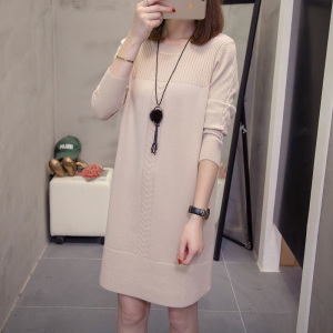 Image 4 - plus size sweater dress autumn winter korean loose solid ladies pullover knitted long sweaters oversize Stretchy knitwear jumper