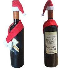 1 шт. рождественское красное вино украшение для домашнего стола блестки держатель пакета для вина красное Вино Шампанское крышка бутылки чехол Рождественский подарок L* 5