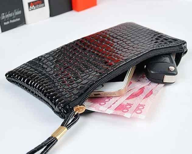 Mulheres bolsa de moedas de Embreagem De Couro De Crocodilo Bolsa Bolsa Da Moeda Saco mini portáteis sacos de cartão da Carteira pacote кошелек женский