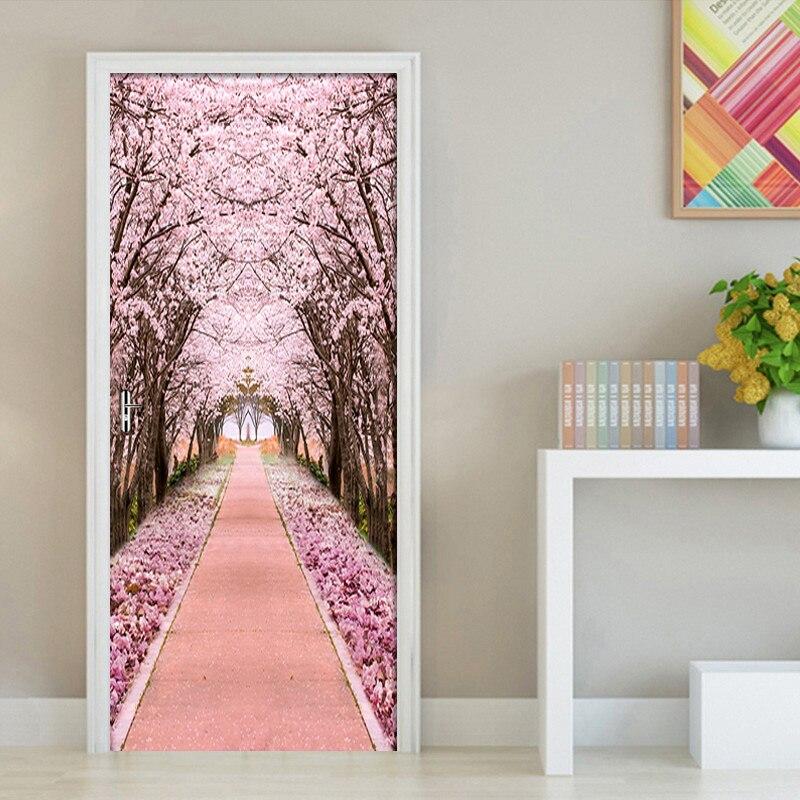 Купить наклейка на дверь из пвх самоклеящаяся водонепроницаемая с розовым