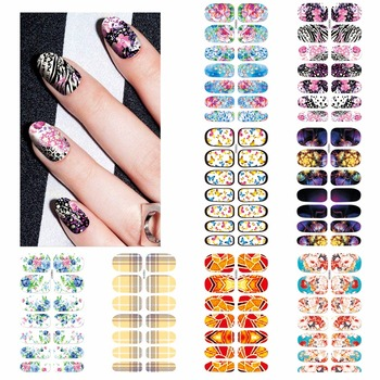 цена на YZWLE 1 Sheet Optional Beautiful Full Cover Wraps Nails Decals Water Transfer Nail Art Stickers