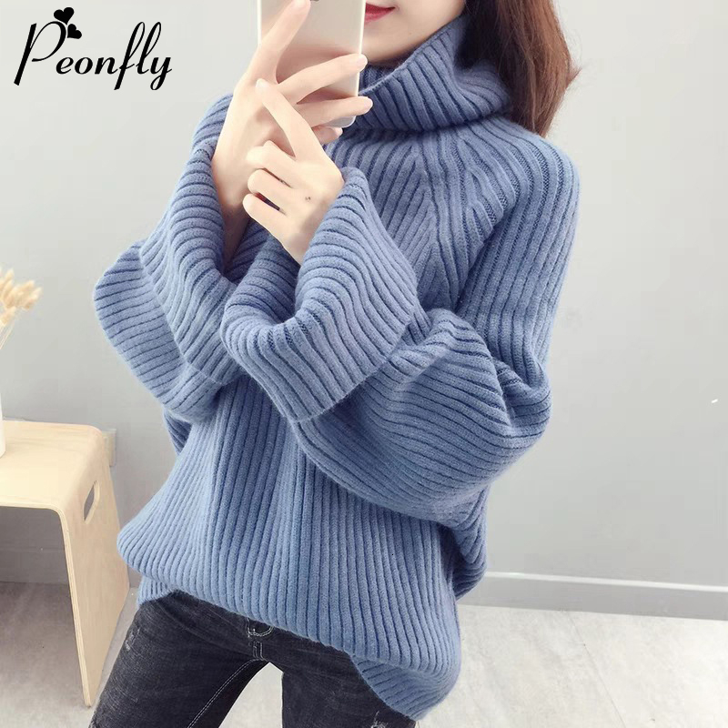 PEONFLY Turtleneck Solid Color Sweater Women 2019 Winter Warm Loose Oversize Knitted Pullover Sweater Female Soft Jumper