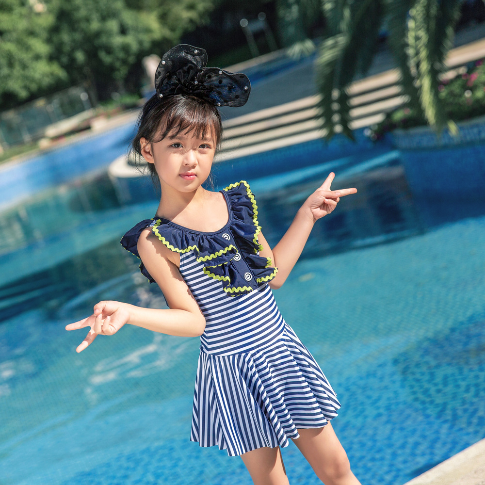 2019 Korean-style New Style KID'S Swimwear Small Children Cute Baby Printed One-piece Hot Springs Large Flounced Swimwear