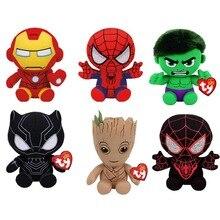 Ty Beanie для малышей, серия супергероев Marvel, Железный человек, Человек-паук, Халк, Черная пантера, плюшевая игрушка, детский подарок, 15 см