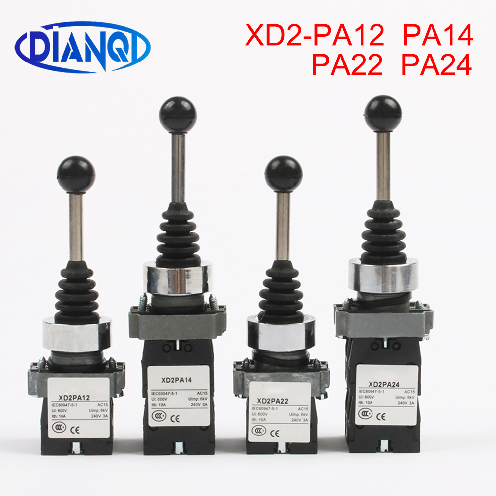 2NO 2 Position Latch XD2-PA12 PA14 Rocker Joystick Controller Spring Return Rotary Cross Switches Reset PA22 PA24 4NO 4 Position