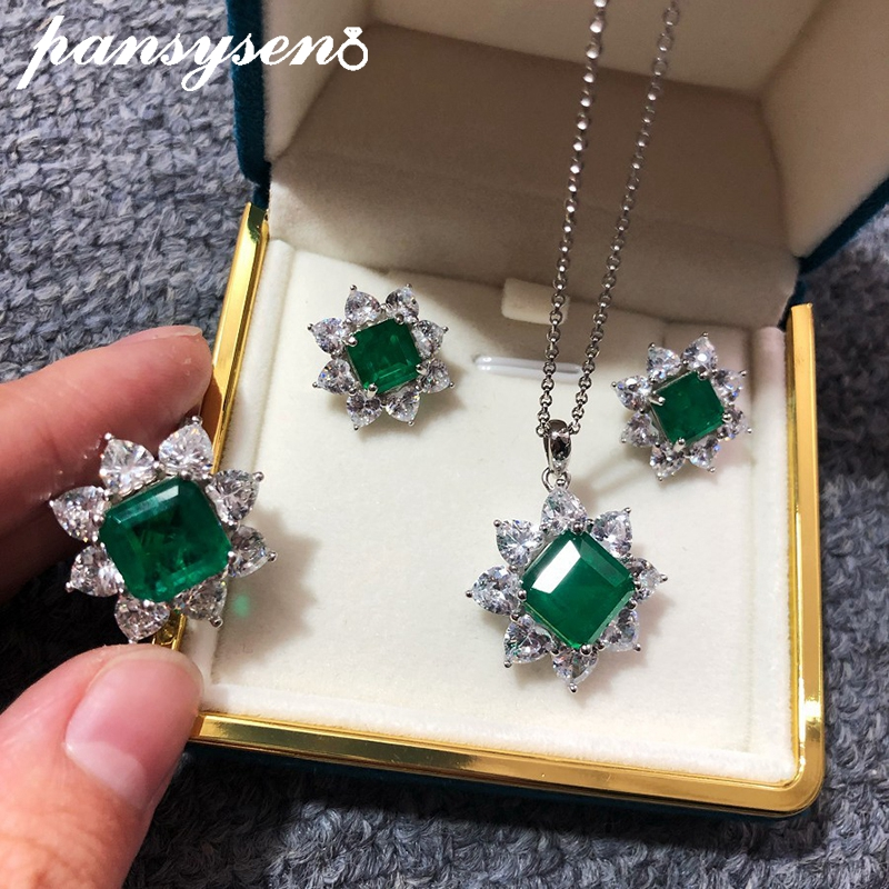 PANSYSEN Solid 925 Sterling Silver Jewelry Set For Women Vintage Natural Emerald Anniversary Party Necklace/Earrings/Ring Sets