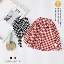 Детская одежда; коллекция года; милая клетчатая рубашка с бантом в Корейском стиле для маленьких девочек; N102