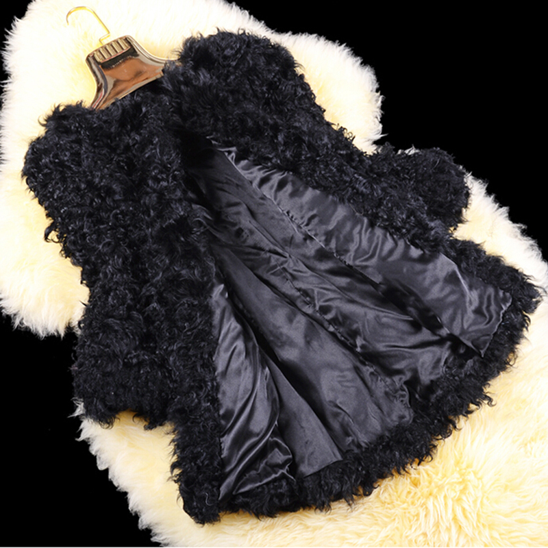 Ladies Fashion Genuine Real Sheep Fur Coat Lamb Fur Jacket Middle Long Winter Women Jackets And Coat Plus Size Feminine Overcoat