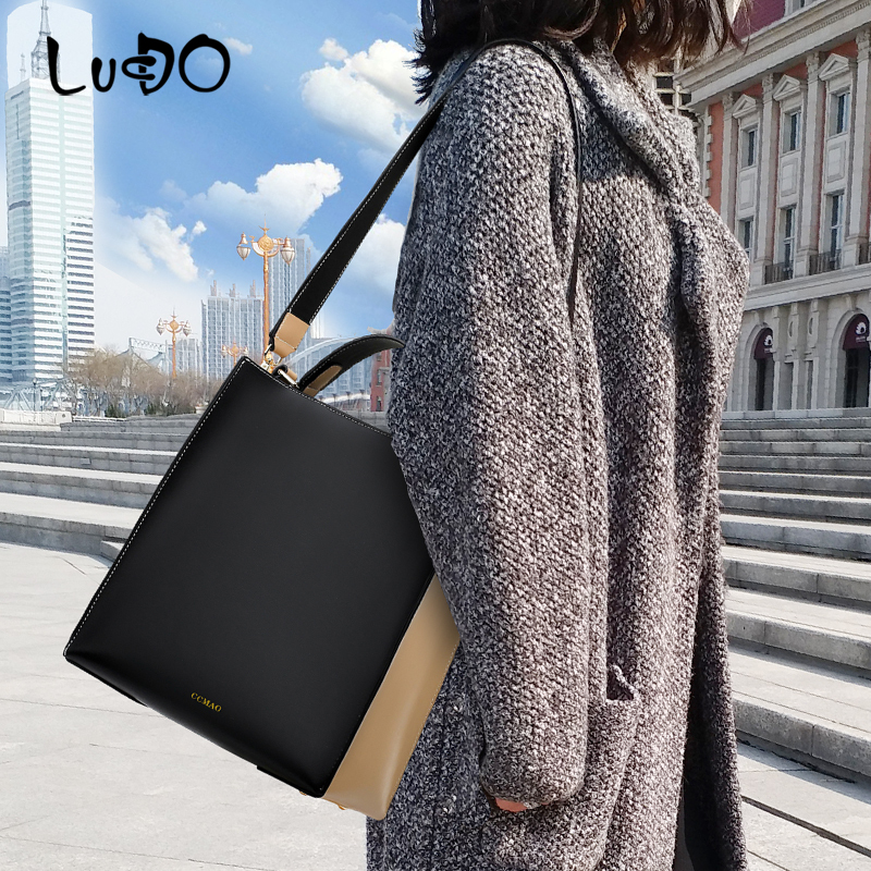 LUCDO 2020 women bag vintage women leather Luxury handbags fashion Shoulder Messenger bags ladies big Tote bags bolsas feminina