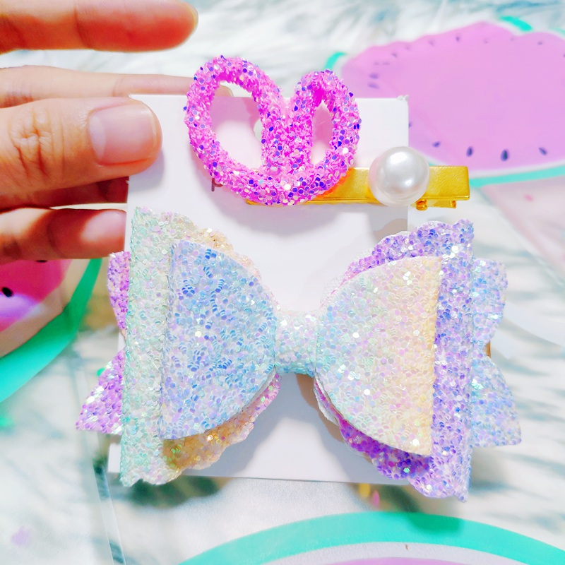 women Bows Hair Clips Double Layer Glitter pearl Kids Hairpins Sequins Princess Headdress Accessories Cute