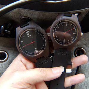 Image 3 - Liefhebbers Geschenken Luxe Royal Ebbenhout Horloge Mens Fashion Houten Vrouwen Jurk Klokken Mannelijke Lederen Valentijnsdag Relojes