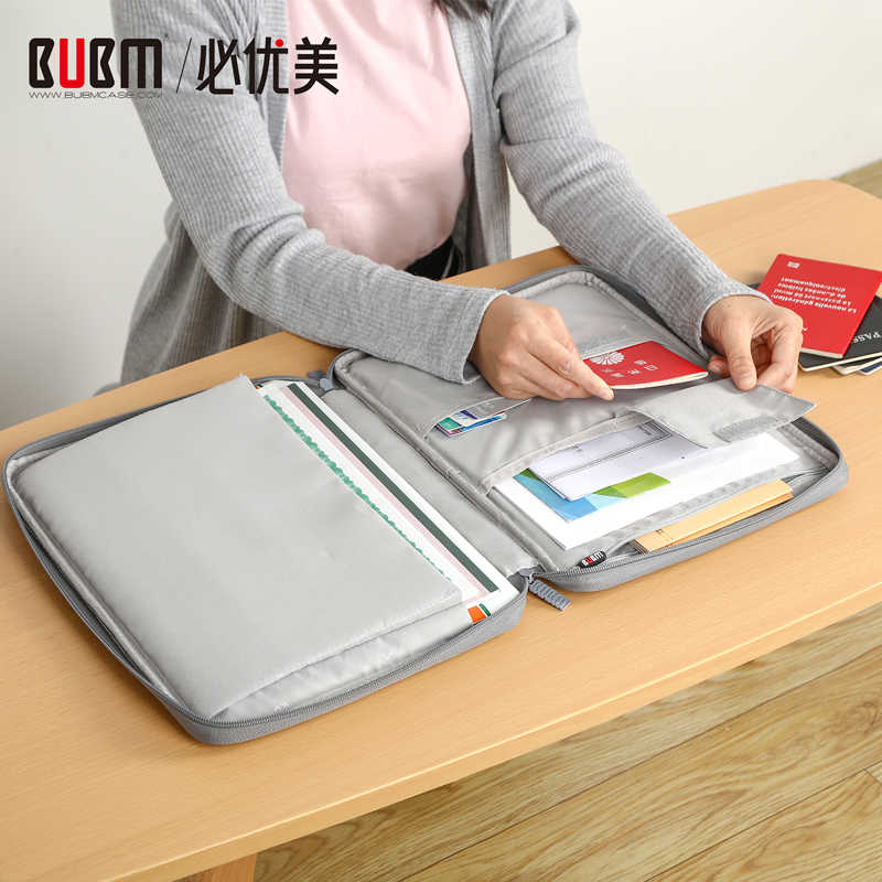 BUBM Multi-Fungsional A4 Dokumen Tas Ritsleting Tas Trave Gear Tas Portofolio Tas Organizer untuk Surface Pro, MACBOOK AIR, Macbook