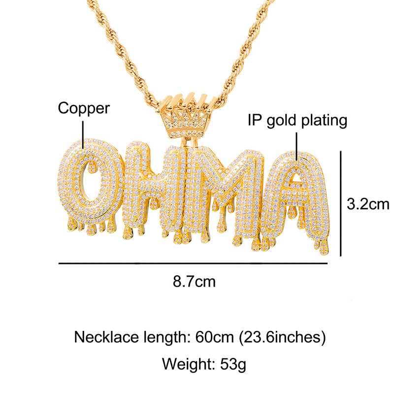 Hip Hop Iced Out Bubble Letters Custom Name Cubic Zircon Crown Drip Chain Pendants Necklaces For Men Jewelry With Tennis Chain in Pendant Necklaces from Jewelry Accessories