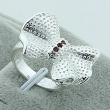 Lovely White Fashion Bow knot Female Ring 925 Silver Color Zircon Luxury Jewelry High Quality Wedding Engagement