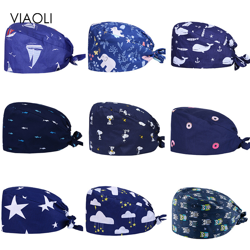Viaoli Nurse Surgical Caps Adjustable Cotton Printed Breathable Stomatology Operating Room Hat Doctor Hat Unisex Pharmacy Hats
