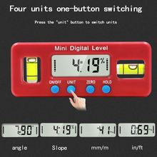 2key digital inclinometer level box protractor angle finder gauge meter bevel level boxes illuminated lcd display Red Precision Digital Protractor Inclinometer Water Proof Level Box Digital Angle Finder Bevel with Magnetic Base