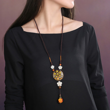 Vintage Women Necklace Adjustable Long Rope Chain Ethnic Accessories Sweater Chain Chinese style Hanging Ornaments недорого
