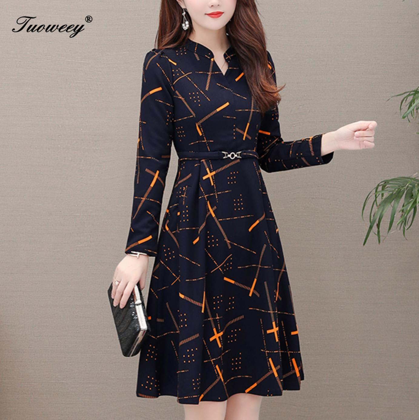Spring Dress Women 2020 Casual Plus Size Slim French Striped  Office A Line Dresses Office OL Elegant  V Neck Long Party Dress